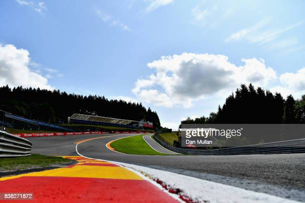 General view of the circuit from the bottom of Eau Rouge during previews ahead of the Formula One Grand Prix of Belgium at Circuit de...