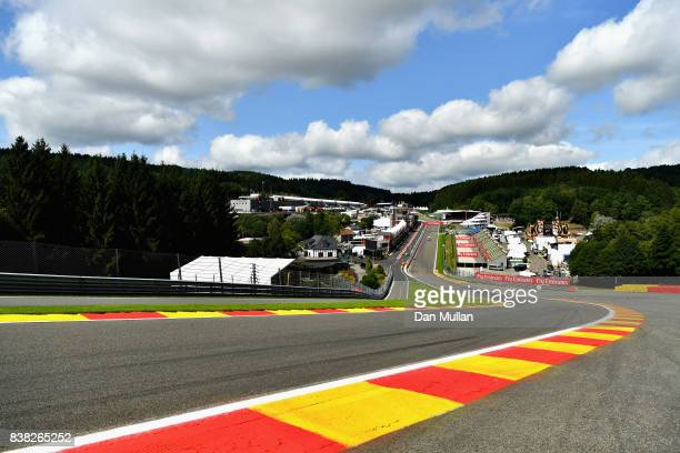 A general view of the circuit from the top of Eau Rouge during previews ahead of the Formula One Grand Prix of Belgium at Circuit de SpaFrancorchamps...