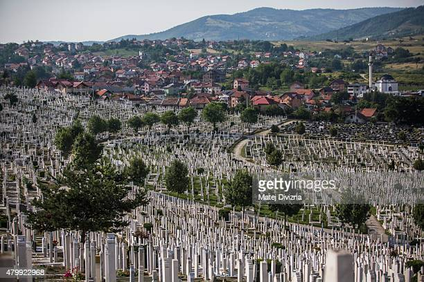 A general view of the city cemetery on July 8 2015 in Sarajevo Bosnia and Herzegovina The newlyidentified remains of another 136 victims from...