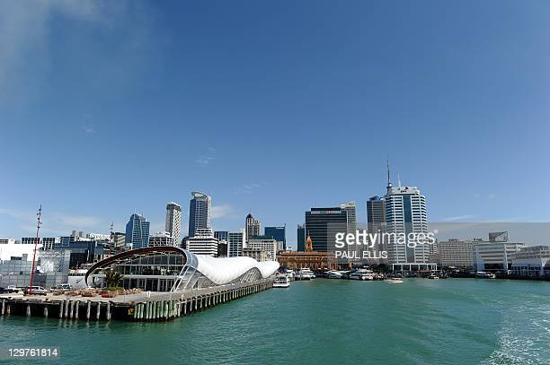 A general view of the city centre skyline of Auckland in New Zealand is seen in this photograph taken on October 20 2011 from a ferry boat in...