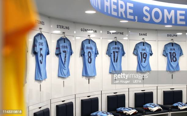 General view of the City dressing room ahead of the UEFA Champions League Quarter Final second leg match between Manchester City and Tottenham...
