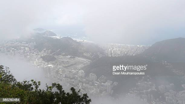 A general view of the city during the Olympics preview day 5 from the Corcovado mountain in the Tijuca Forest National Park on July 30 2016 in Rio de...
