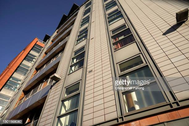 General view of the City Gate residential complex, which has aluminium composite material cladding on February 11, 2021 in Manchester, England. The...