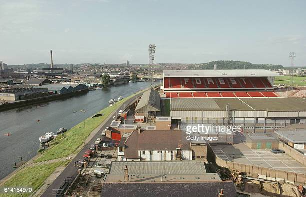 A general view of the City Ground beside the River Trent home of European Cup Holders Nottingham Forest in August 1980 in Nottingham England