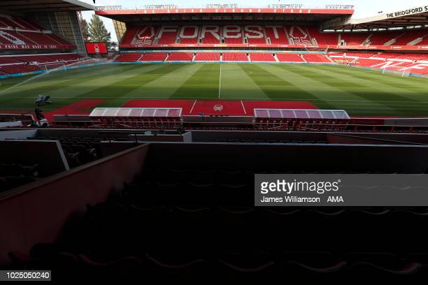 A general view of the City Ground home stadium of Nottingham Forest during the Carabao Cup Second Round match between Nottingham Forest and Newcastle...