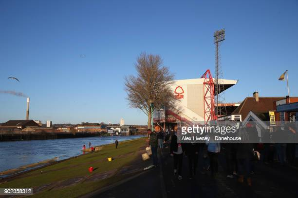 A general view of the City Ground is seen prior to the Emirates FA Cup Third Round match between Nottingham Forest and Arsenal at City Ground on...