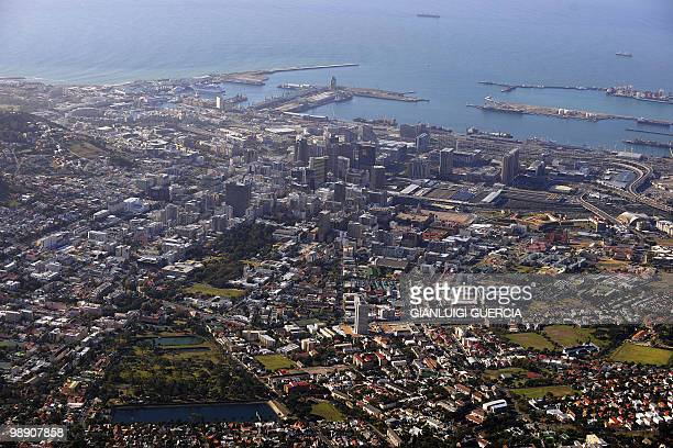 A general view of the city of Cape Town is seen from the top of Table Mountain at the arrival station of the Table mountain cableway on May 7 2010 in...