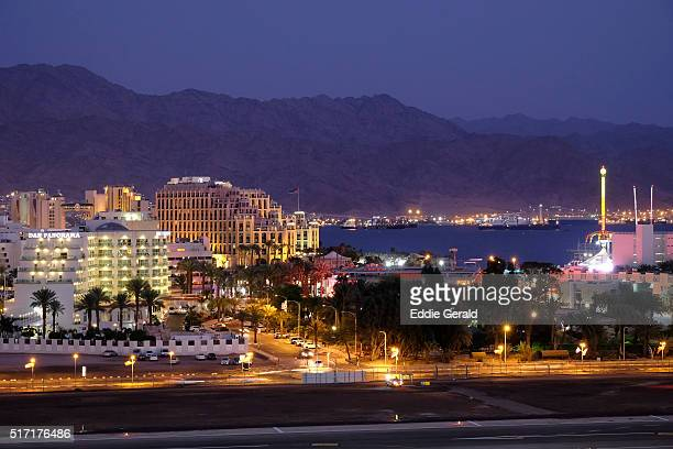 General view of the city of Eilat with the port of Aqaba in background located at the northern tip of the Red Sea on the Gulf of Aqaba Israel