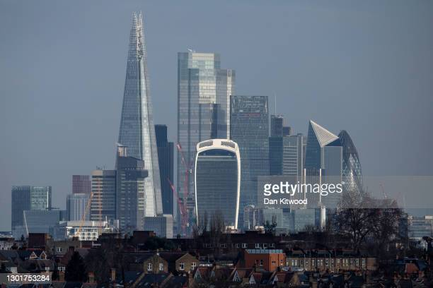 General view of the City of London and the Shard on February 12, 2021 in London, England. The ONS figures released today show that the UK Economy...