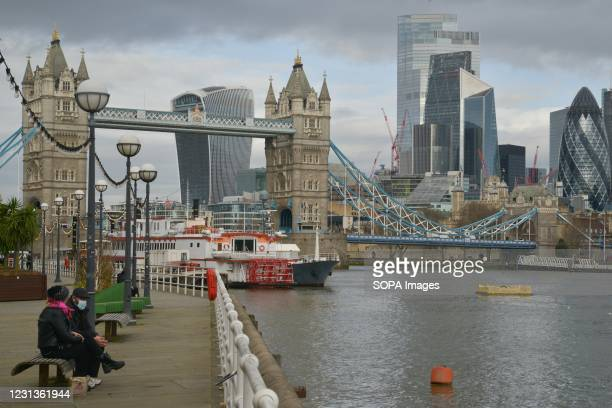 General view of the City of London and Tower Bridge during the national lockdown.