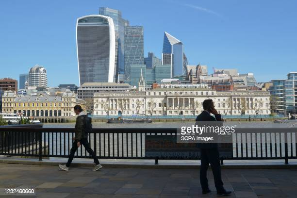 General view of the City of London seen from Hay's Galleria, near London Bridge.
