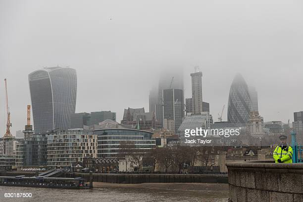A general view of the City of London shrouded in fog on December 18 2016 in London England A second day of thick fog in London has led to further...