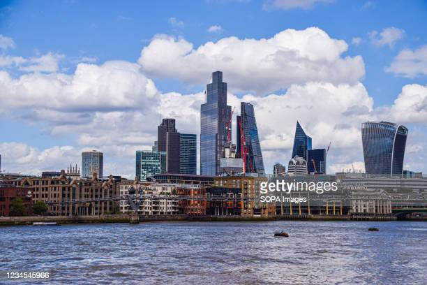 General view of the City of London skyline and River Thames.