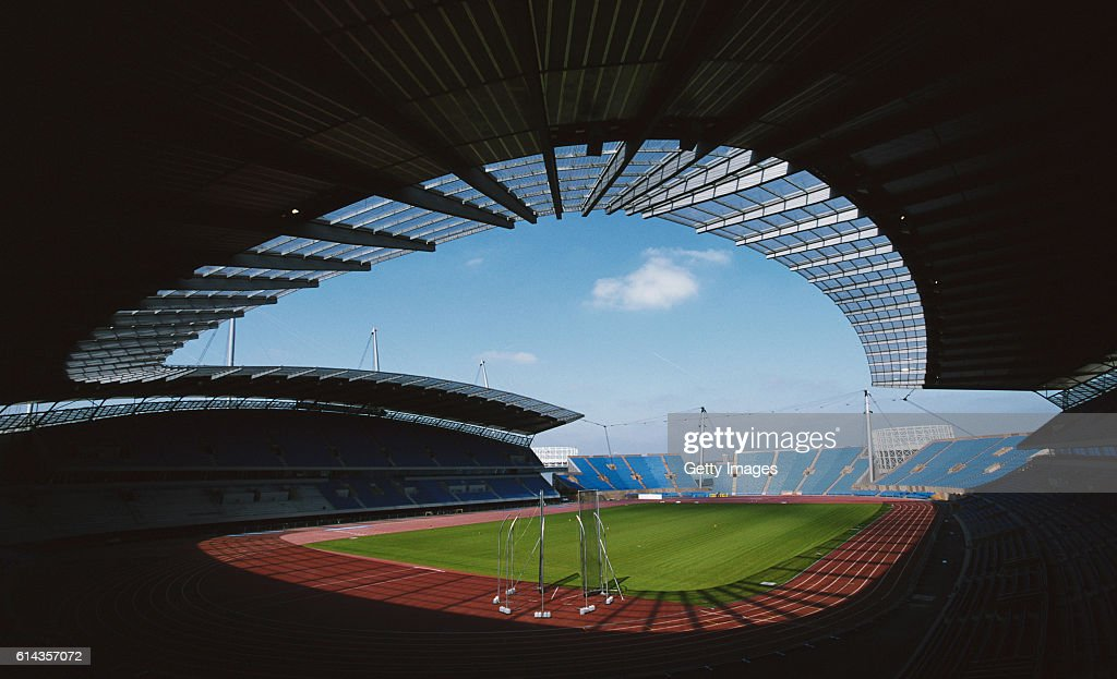 A general view of the City of Manchester Stadium prior to the 2002 Commenwealth Games held in Manchester, the stadium was then converted into the home of Manchester City FC after the Games.