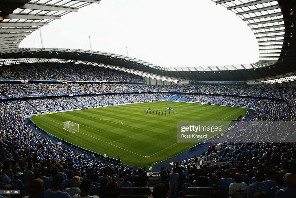 General view of The City of Manchester Stadium taken during the Pre-Season Friendly match between Manchester City and FC Barcelona held on August 10, 2003 at The City of Manchester Stadium, in Manchester, England. Manchester City won the match 2-1.
