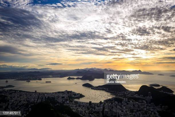 General view of the city of Rio de Janeiro as seen from the statue of Christ the Redeemer during the opening ceremony of the festivities in honor of...
