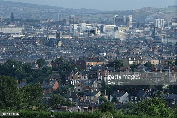 A general view of the city of Sheffield as seen from the south and from Meersbrook Park Sheffield England circa 1975