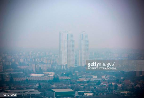 General view of the city of Skopje, seen through polluted air on January 30 one of the most polluted cities in Europe.