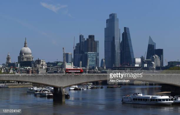 A general view of the City on April 26 2020 in LondonEngland The British government has extended the lockdown restrictions first introduced on March...