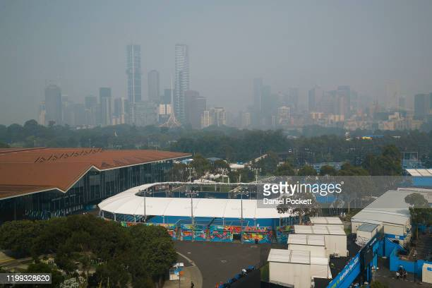 General view of the city shrouded in smoke ahead of the 2020 Australian Open at Melbourne Park on January 14, 2020 in Melbourne, Australia.