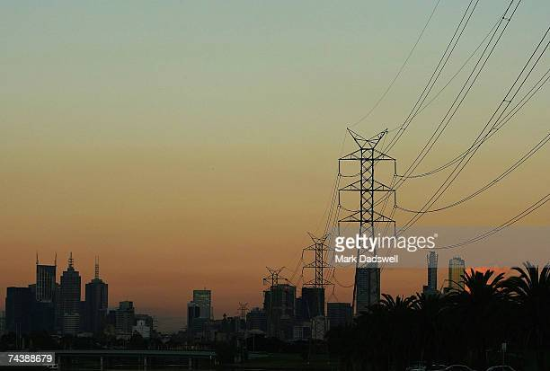 A general view of the city skyline and electricity powerlines on the Mairbyrnong River in West Footscray June 4 2007 in Melbourne Australia World...