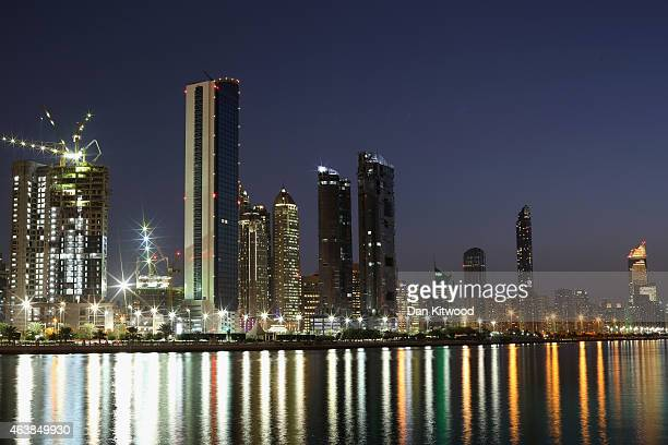 A general view of the city skyline from Dhow Harbour on February 5 2015 in Abu Dhabi United Arab Emirates Abu Dhabi is the capital of the United Arab...