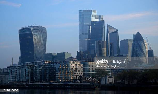 A general view of the city skyline on April 16 2020 in London England The Coronavirus pandemic has spread to many countries across the world claiming...