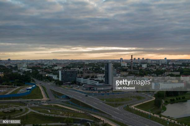 A general view of the city skyline on July 03 2017 in Minsk Belarus The postSoviet republic of Belarus borders Poland to its West Lithuania to its...