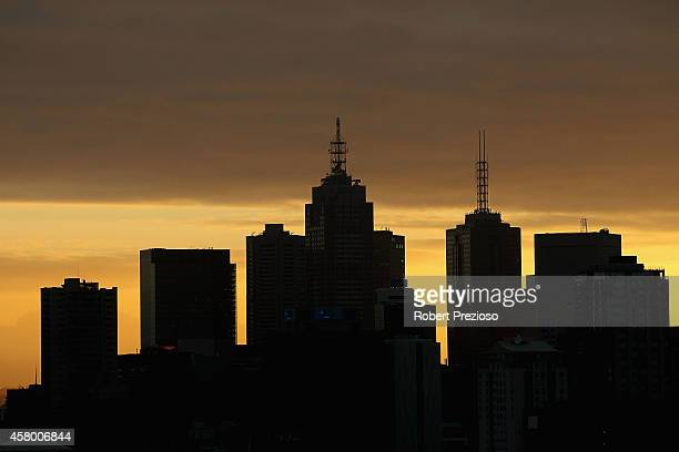 A general view of the city skyline prior to Channel seven presenter Edwina Bartholomew holding the Emirates Melbourne Cup in the Melbourne Star cabin...