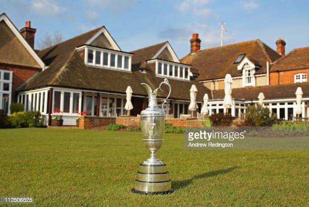 General view of the claret jug in front of the clubhouse prior to The Royal St George's Open Championship press conference on April 19, 2011 in...