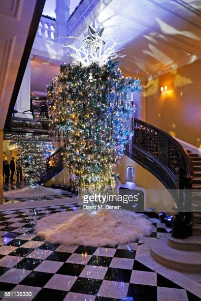 A general view of the Claridge's Christmas Tree 2017 designed by Karl Lagerfeld on November 28 2017 in London United Kingdom