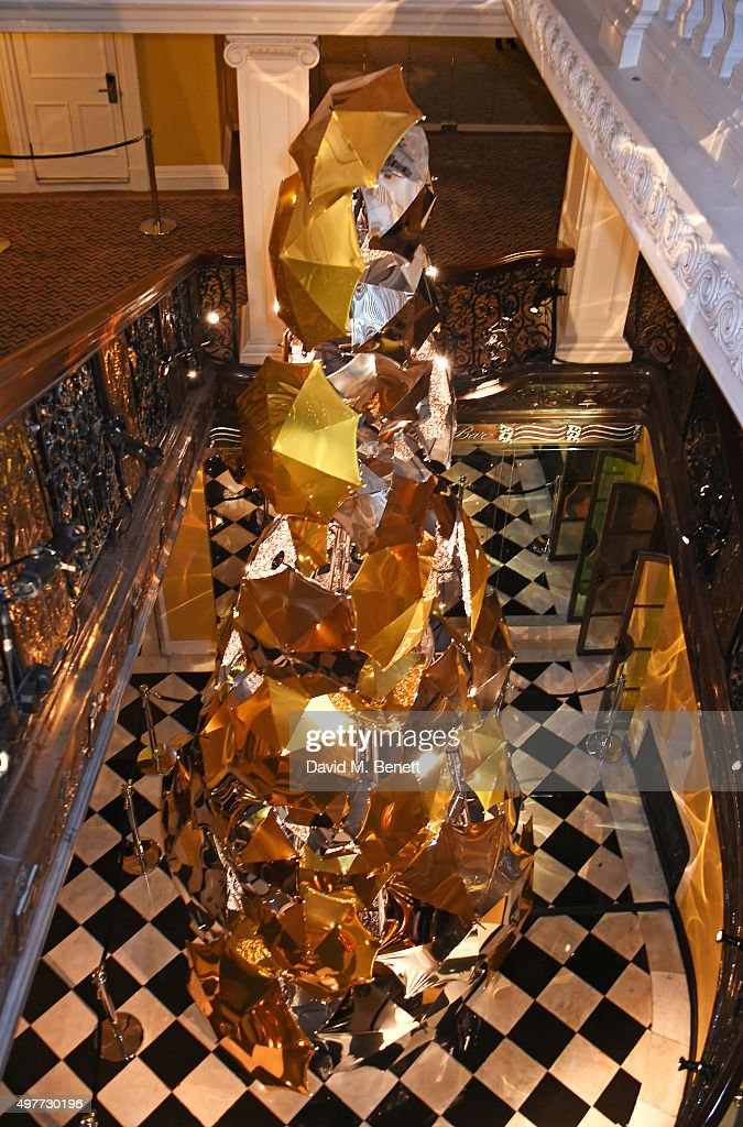 A general view of the Claridge's Christmas Tree, designed by Christopher Bailey for Burberry, at Claridge's Hotel on November 18, 2015 in London, England.