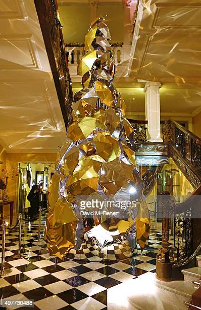 General view of the Claridge's Christmas Tree, designed by Christopher Bailey for Burberry, at Claridge's Hotel on November 18, 2015 in London,...