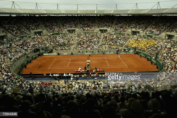 A general view of the Clay Court during the second rubber of the Davis Cup between Lleyton Hewitt of Australia and Alex Bogdanovic of Great Britain...