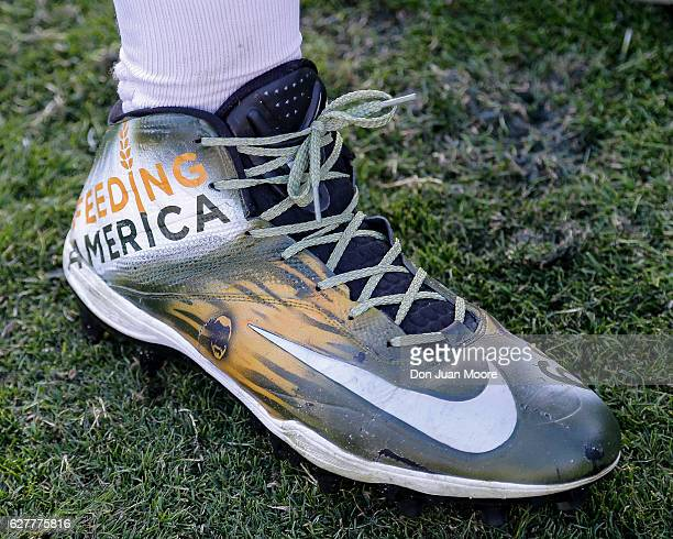 A general view of the cleats worn by Tackle Kelvin Beachum of the Jacksonville Jaguars during the game against the Denver Broncos at EverBank Field...