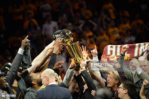 A general view of the Cleveland Cavaliers celebrating with the Larry O'Brien NBA Championship Trophy after defeating the Golden State Warriors in...