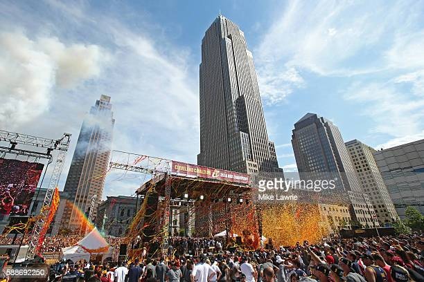 A general view of the Cleveland skyline as the Cleveland Cavaliers hoist the Larry O'Brien Trophy during the Cleveland Cavaliers 2016 NBA...