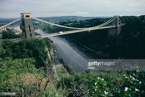 A general view of the Clifton suspension bridge which was designed by Isambard Kingdom Brunel and spans the Avon gorge Bristol England August 1982