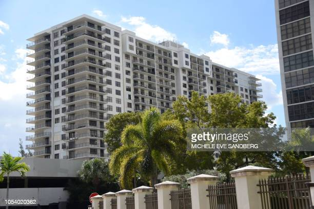 General view of the Clipper Apartment Building at Biscayne Cove, Florida, on October 26, 2018. - The building reportedly has been identified as the...