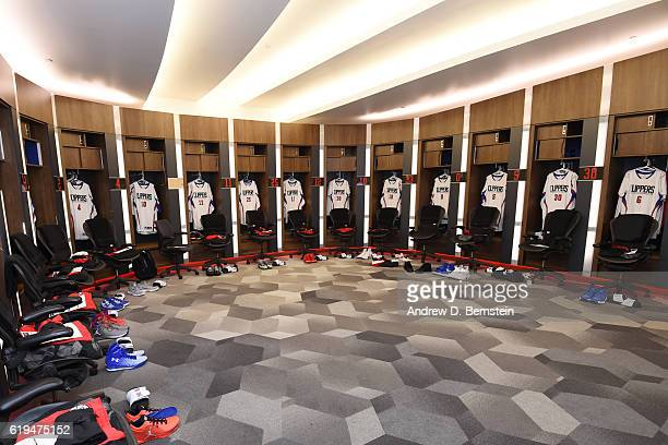 A general view of the LA Clippers locker room before the game against the Utah Jazz on October 30 2016 at STAPLES Center in Los Angeles California...