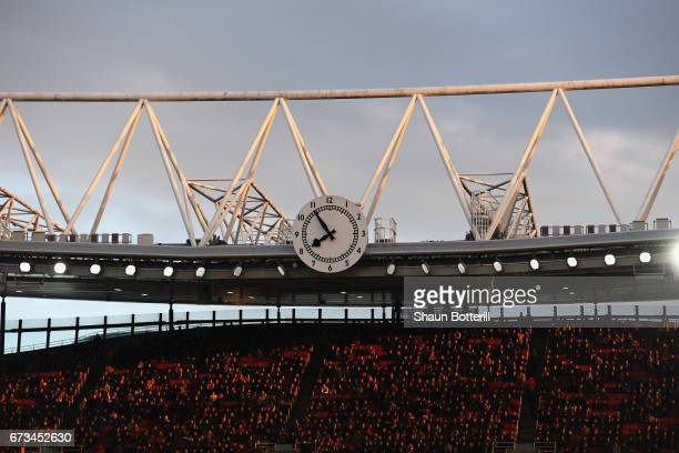 General view of the clock end as fans watch on during the Premier League match between Middlesbrough and Sunderland at the Riverside Stadium on April...