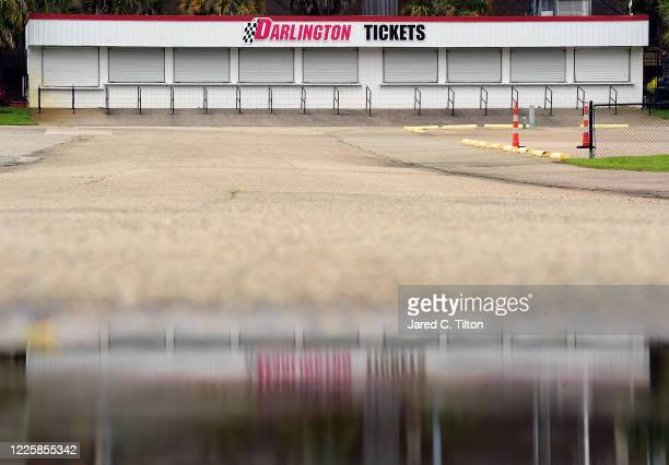 General view of the closed box office due to the ongoing Coronavirus pandemic prior to the NASCAR Xfinity Series Toyota 200 at Darlington Raceway on...