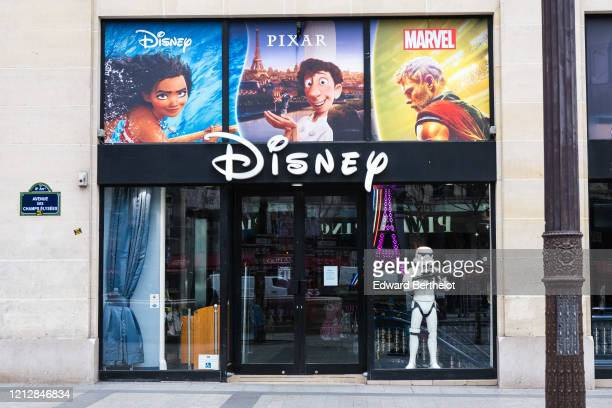 General view of the closed Disney store, at Avenue des Champs Elysees, in the 8th quarter of Paris, as the city imposes emergency measures to combat...
