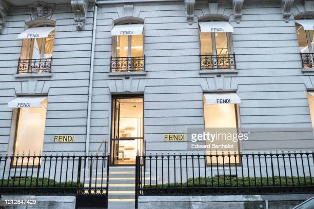 General view of the closed Fendi store at Avenue Montaigne in the 8th quarter of Paris as the city imposes emergency measures to combat the...