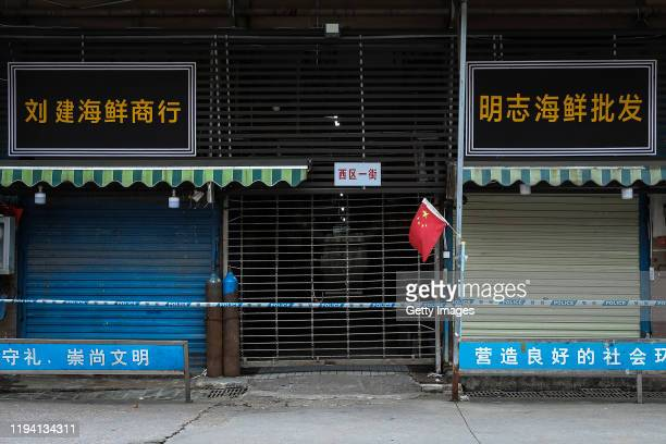 A general view of the closed Huanan Seafood Wholesale Market which has been linked to cases of Coronavirus on January 17 2020 in Wuhan China Local...