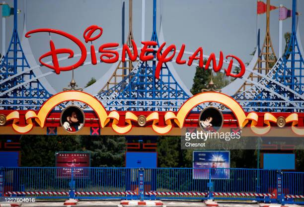 General view of the closed main entrance to Disneyland Paris and Walt Disney studio parks due to epidemic Coronavirus on May 28, 2020 in Paris,...