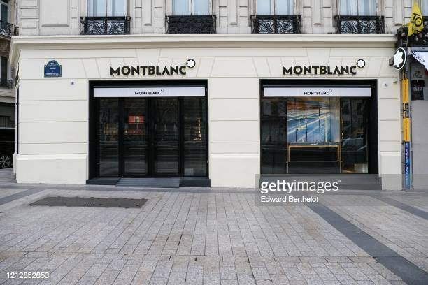 General view of the closed Montblanc store, at Avenue des Champs Elysees, in the 8th quarter of Paris, as the city imposes emergency measures to...