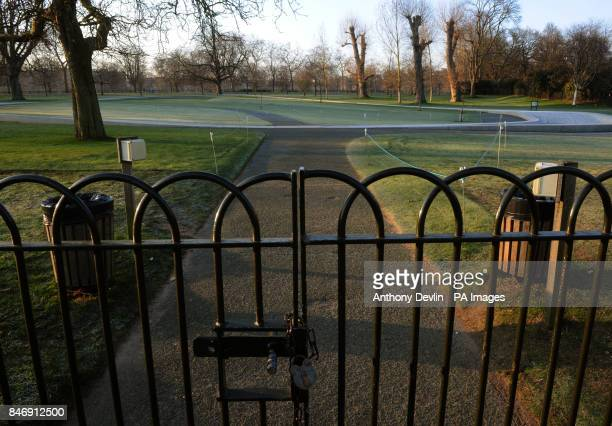 A general view of the closed Princess Diana memorial in Hyde Park London as parts of Britain were placed on amber alert today as the country lies in...