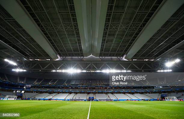 A general view of the closed roof inside the stadium prior to the UEFA EURO 2016 Group B match between Russia and Slovakia at Stade PierreMauroy on...