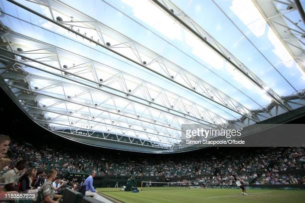 General view of the closed roof on Court 1 during Day 3 of The Championships - Wimbledon 2019 at the All England Lawn Tennis and Croquet Club on July...